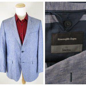 Ermenegildo Zegna Blue Linen Chambray Sport Coat